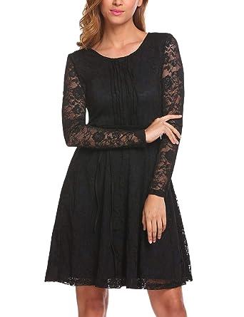 Finejo Damen Spitzenkleid A-Linie Abendkleid Langarm Cocktailkleid Knielang  Ballkleid Festlich Kleider für Hochzeit Spitze Kleid  Amazon.de  Bekleidung 39918c4d51