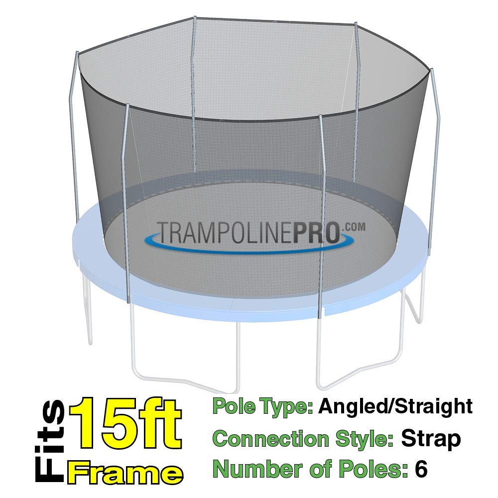 Trampoline Replacement Nets with Straps | Sizes 12 ft - 14 ft - 15 ft | Net Only | Poles Not Included (15 ft Net w/Straps for 6 Poles) by Trampoline Pro