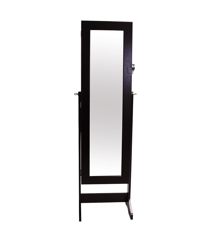 Todeco - Schmuckschrank mit Spiegel , Spiegel Organizer - Material  MDF - 120 x 38 x 9 cm, Braun, Ständer