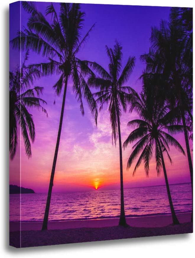Amazon Com Ansouyi 12x16 Inches Canvas Wall Art Painting Purple Beach Palm Trees Silhouette At Sunset Orange Night Home Decorative Artwork Prints Posters Prints