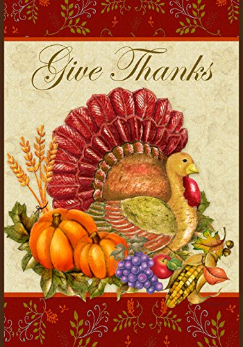 Toland Home Garden Thankful Turkey 12.5 x 18 Inch Decorative Give Thanks Harvest Thanksgiving Garden Flag from Toland Home Garden