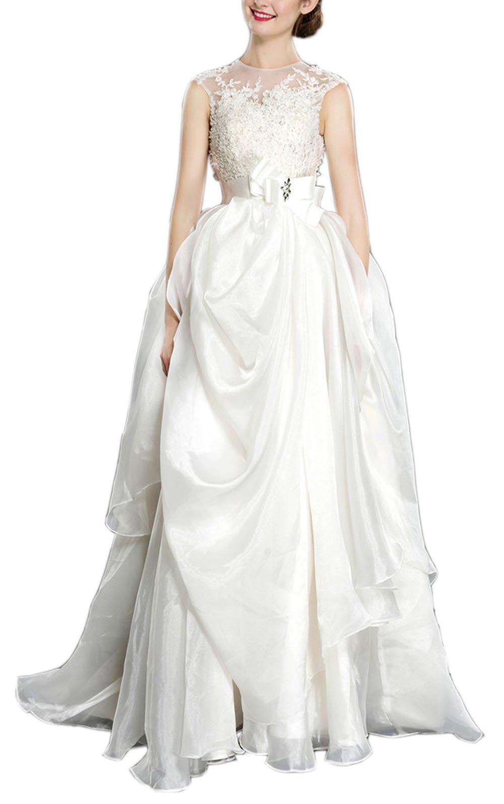 Sayadress Women's Jewel Lace Applique Bow Sash Ruffles Cloud Yarn Wedding Dress Ivory US2