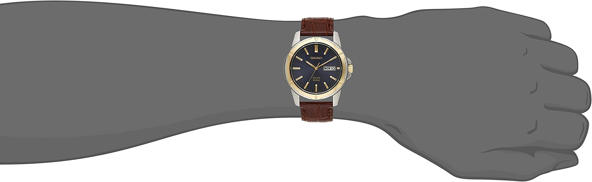 Seiko Men TwoTone Leather Strap Blue Dial Solar Watch