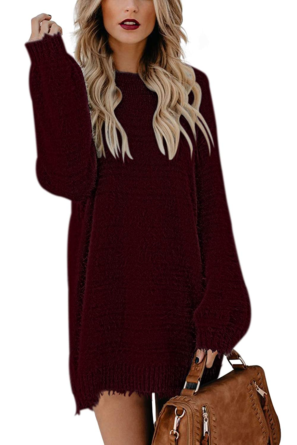 Pink Queen Womens Oversized Turtleneck Christmas Xmas Wool Pullover Sweater Dress with Pockets
