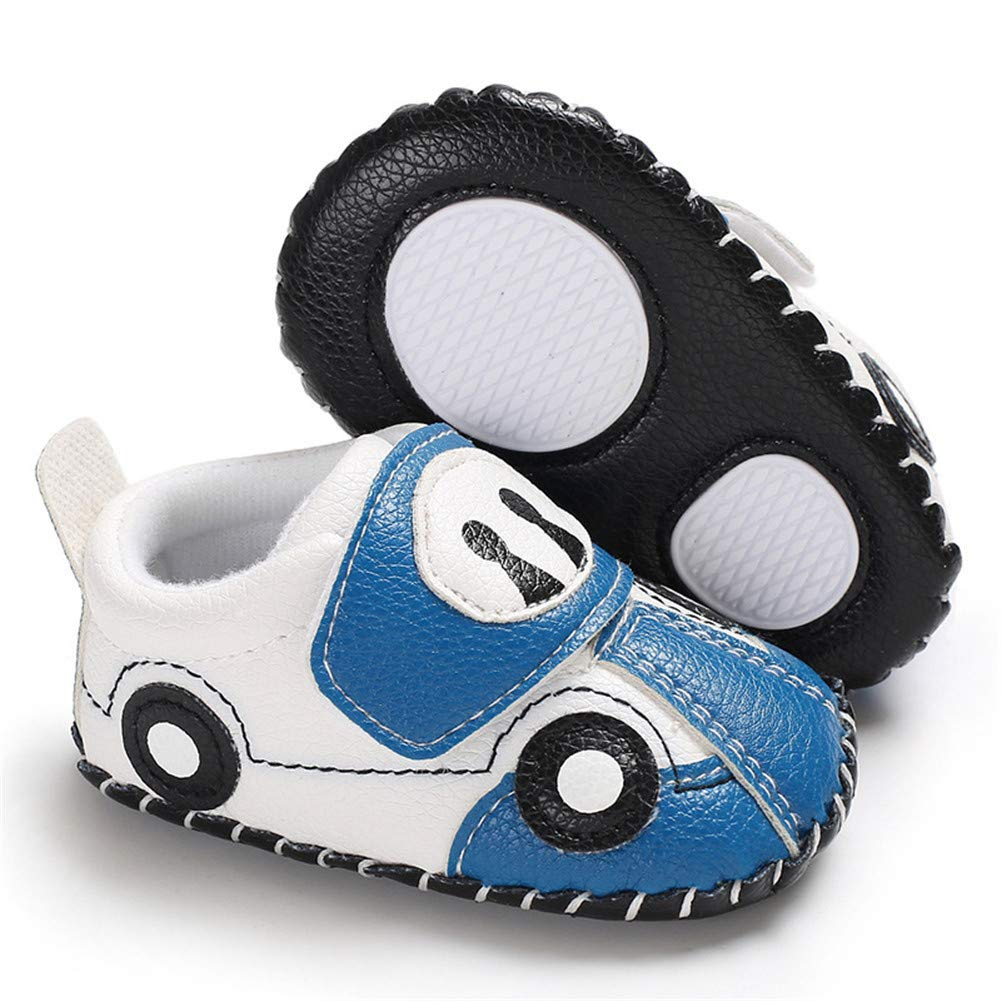 UWESPRING Baby Boys Leather Sneaker Rubber Sole Cartoon Car with Socks