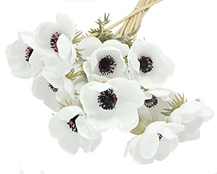 Amazon enge 10 heads mini artificial anemone wedding bridal enge 10 heads mini artificial anemone wedding bridal bouquet home flower 10 white mightylinksfo