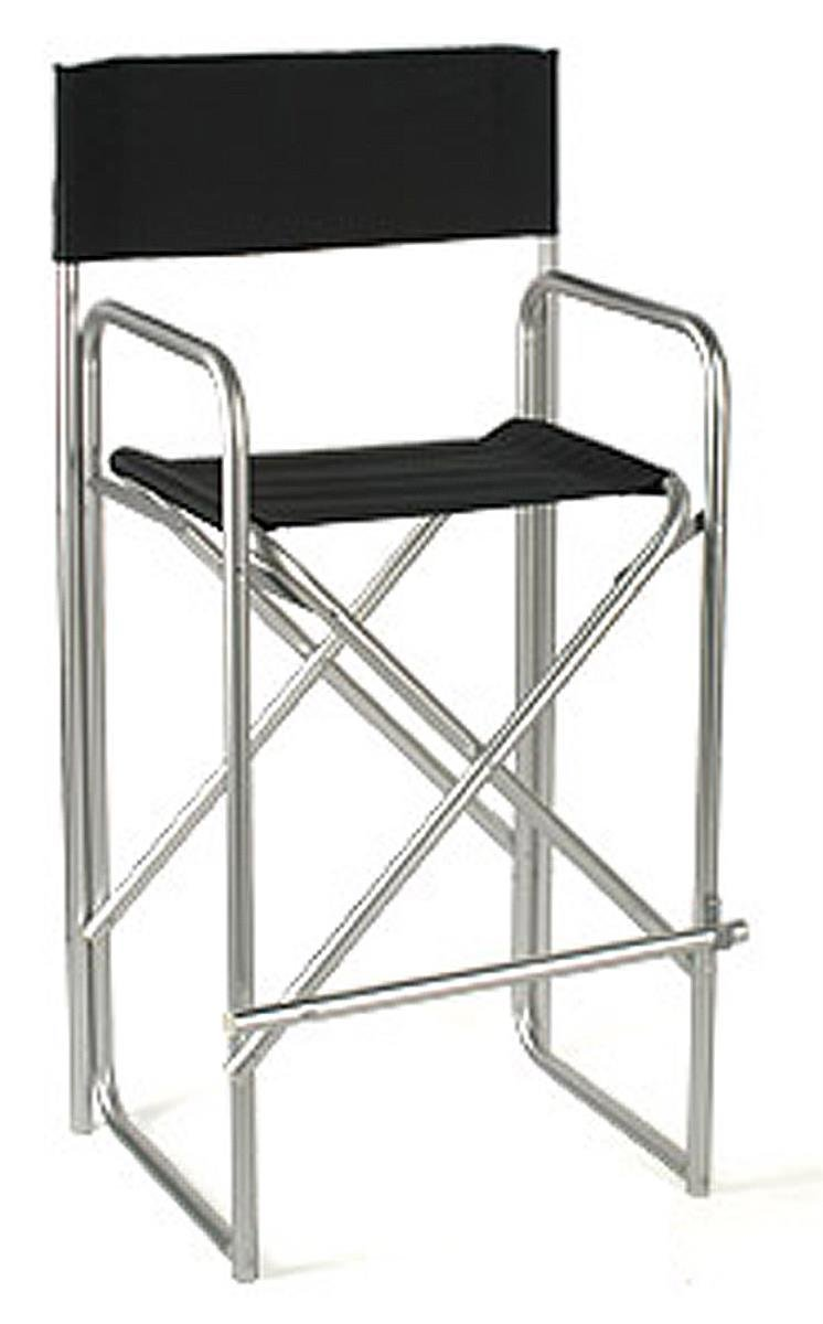 Displays2go Aluminum Director's Chair with Black Canvas Back and Seat, 47-Inch, Satin Silver