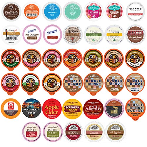 Perfect Samplers Single Serve Variety Pack, Flavored Coffee Pods, Hot Chocolate, Tea & Cappuccino Pods – Variety Pack…