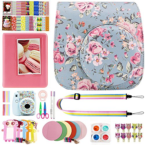 Elvam 12 in 1 Camera Accessory Bundles Set for Fujifilm Instax Mini 8 – Vintage Flower Floral (Mini 8 Case/Camera Strap/Album/Film Frames/Stickers/Border Stickers/Lens/Filter/Owl Clip/Pens/Scissors)