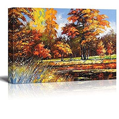 Canvas Prints Wall Art - Autumn Landscape on The Bank of The River - 24