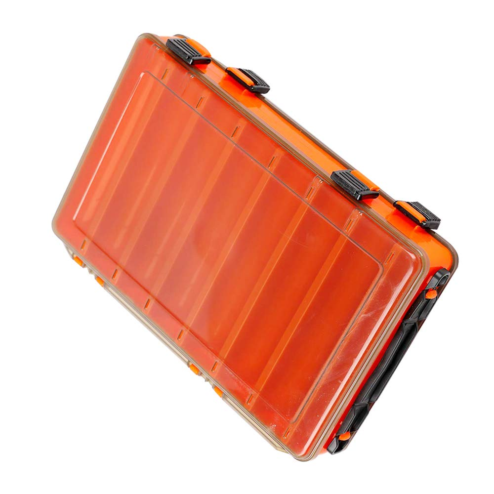 12/16 Compartments Double Sided Fishing Tackle Box Visible Hard Plastic Clear Fishing Lure Bait Squid Jig Minnows Hooks Accessory Storage Case Container (16-Compartment Double-Sided-Orange) by Unknown