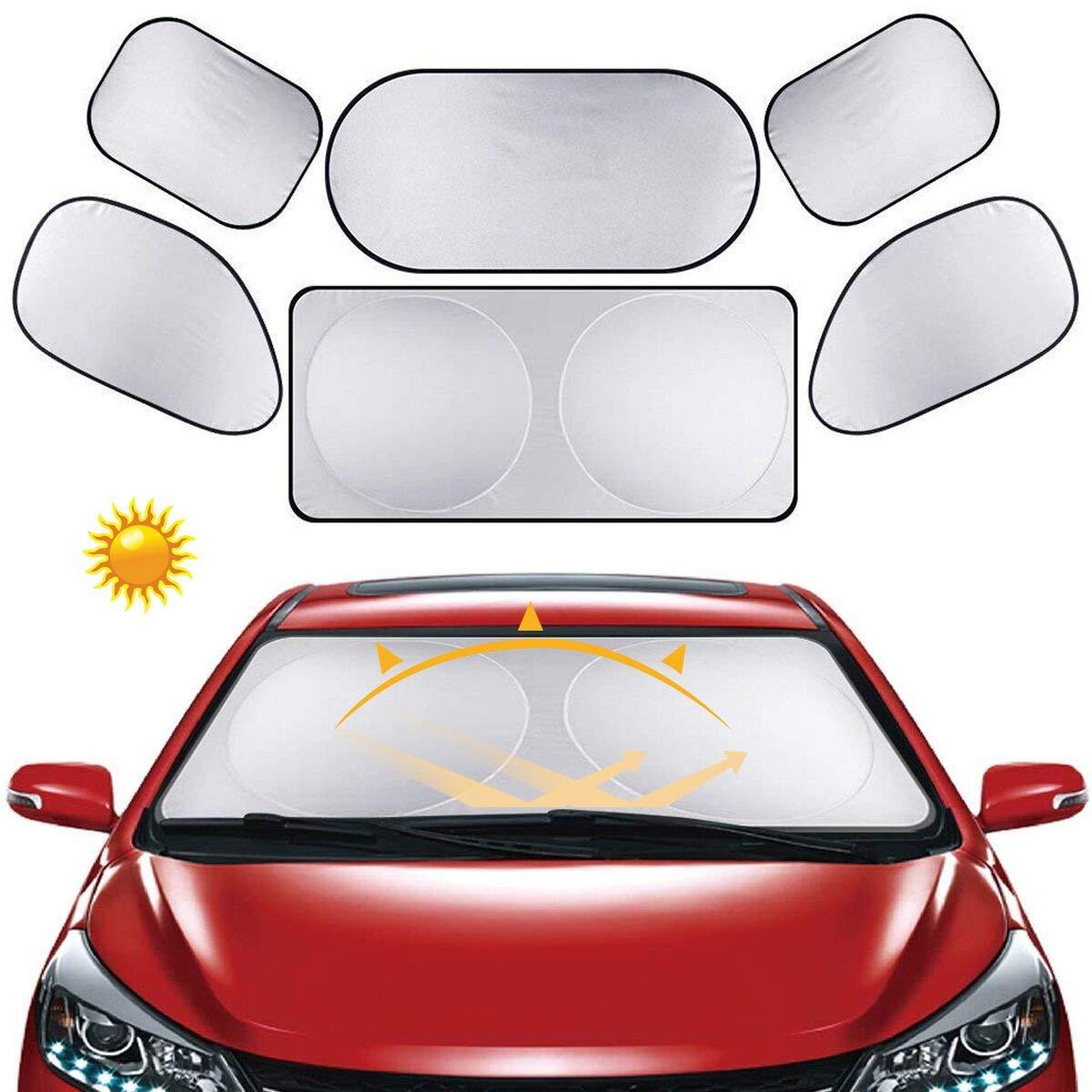 6 * Parasol Universal de Coche - GLAMSVILL Portá til Parasoles de Coche Plegable, Proteja el interior de su vehí culo de los rayos UV Parasoles Para Automó vil Incluye 6 piezas en total 1 parasol frontal, 1 parasol trasero y 4 parasole