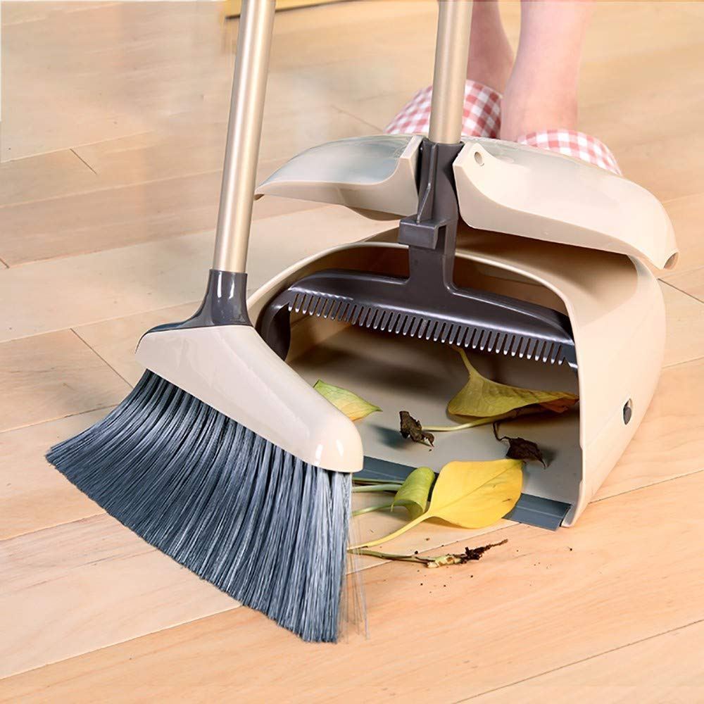 GAOJIN Household Cleaning Dustpan Set,Upright Broom and Dustpan Combo with Long Extendable Handle,Sweeping Hair Sweeping Artifact Without Sticky Hair Convenient Storage Cleans by GAOJIN
