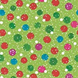 Entertaining with Caspari Continuous Roll of Gift Wrapping Paper, Snowy Pom Poms Green, 8-Feet, 1-Roll
