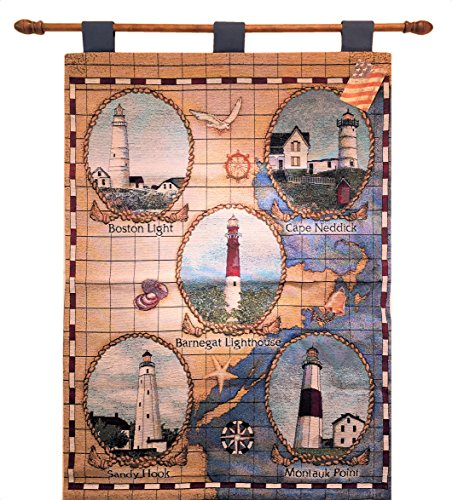 Cheap  Manual Lighthouses of the Northeast Tapestry Wallhanging with Rod HWTLON 26x36