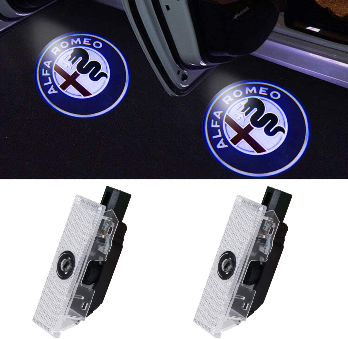KRADA Car Door Logo Light LED Projector Ghost Shadow Welcome Lights for Alfa Romeo Giulietta/Mito/Stelvio/Giul Series Symbol Emblem Courtesy Step Lights Kit Replacement (2 Pack)