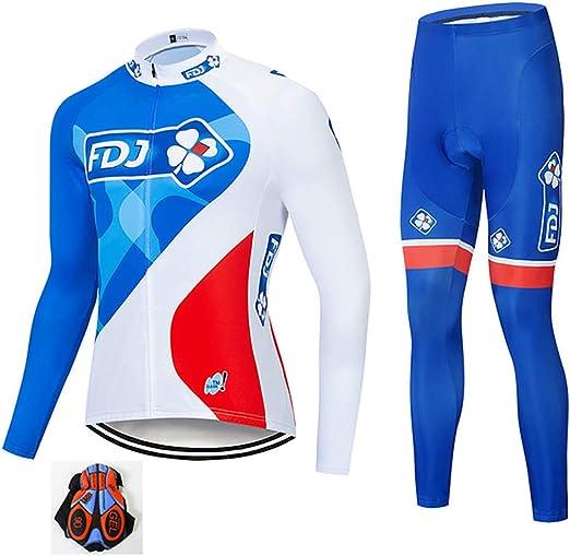 SKYSPER Ciclismo Maillot Hombres Jersey Pantalones Largos Culote Mangas Largas de Ciclismo Conjunto de Ropa Maillot Oto/ño Invierno Primavera 3D Acolchado para Deportes al Aire Libre Ciclismo Bicicleta