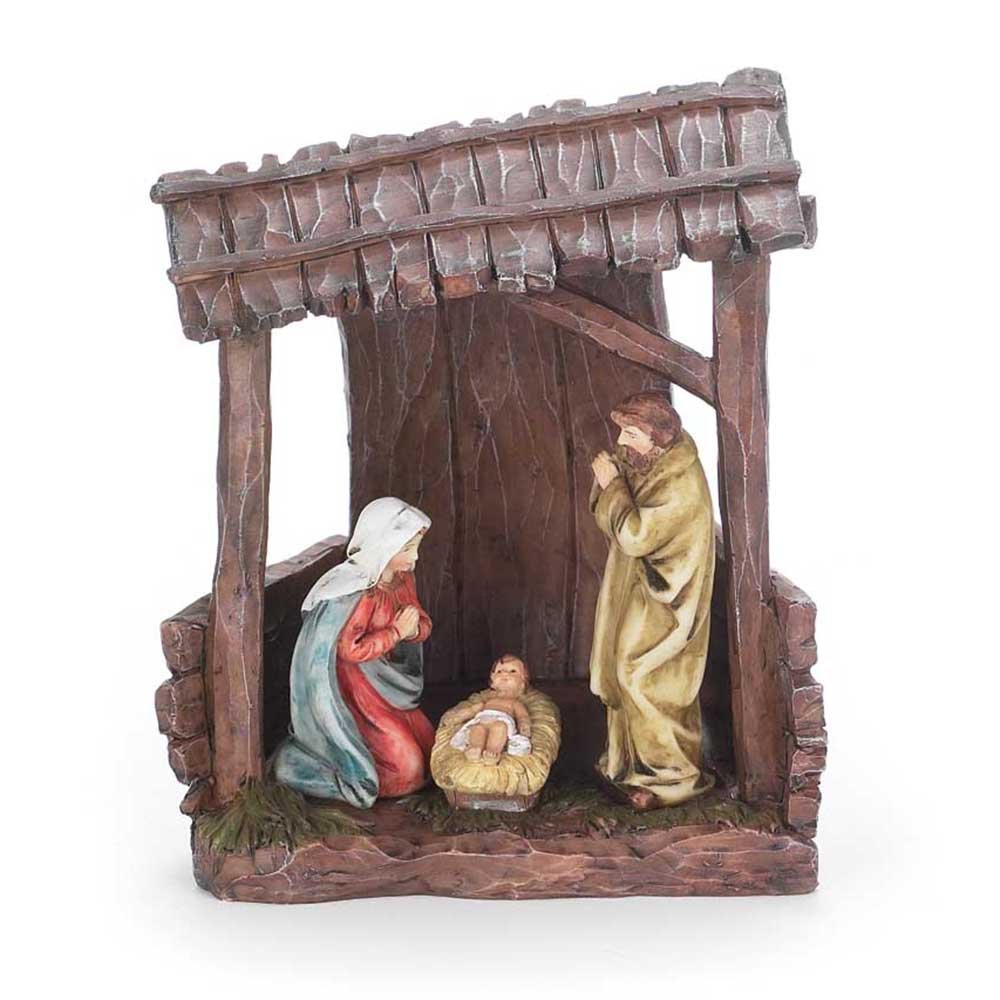 Holy Family LED Lighted 5.5 x 6.25 Resin Stone Christmas Nativity Scene Figurine Dicksons