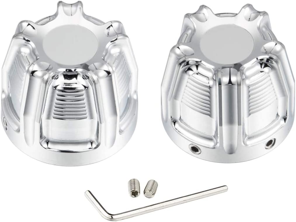 PBYMT Chrome Front Axle Nut Covers Caps Compatible for Harley Davidson Softail Sorster Touring Electra Street Glide Road King 2008-2020