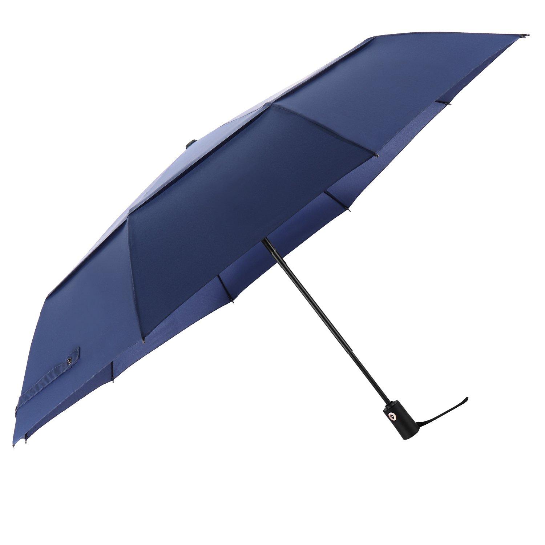 Arebe Extra Larger Travel Umbrella Windproof Auto Open Close Travel Umbrella (Blue)