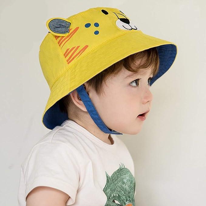 DRESHOW Chapeau de soleil pour b/éb/é Tout-petit Protection contre le soleil Casquette pour animaux unisexe Chapeau de seau d/ét/é avec mentonni/ère UPF 50+