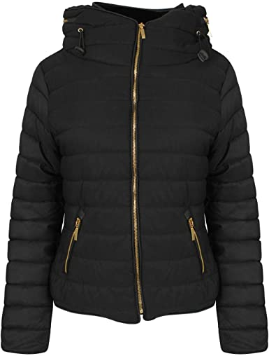Womens Ladies Quilted Designer Padded Bubble Fur Hooded Puffer Coat Jacket S-XL