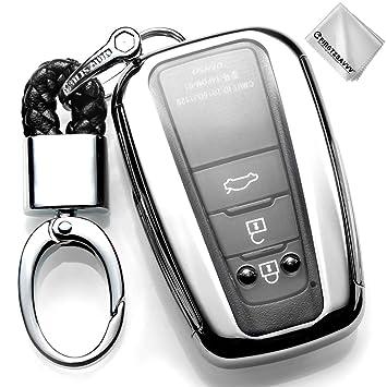 Plata Funda para Llave Smart Key para Coche 2018 2019 Toyota Camry Corolla Avalon Prius C-HR RAV4 3 4 Buttons Carcasa Protectora [Suave] de [Silicona] ...