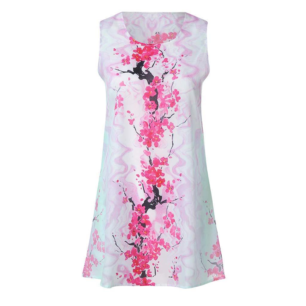 Beach Vintage Women Summer Sleveless Boho Print Casual Fashion Short Mini Dress