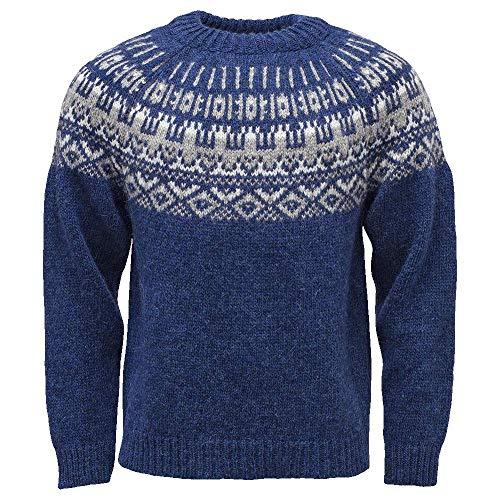 ICEWEAR Elis Men's Sweater Lopapeysa Design 100% Icelandic Wool Long Sleeve Winters Sweater Without Zipper   Blue - Medium - Sweaters Wool Icelandic