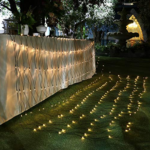 YUNLIGHTS Christmas Tree Lights, LED Net Lights Christmas Tree Decorations 9.8ft x 6.6ft 330 LEDs Mesh Fairy Lights Tree Wrap 8 Lighting Modes for Christmas Wedding Valentine Party Decorations (Outdoor For Lights Net Trees)