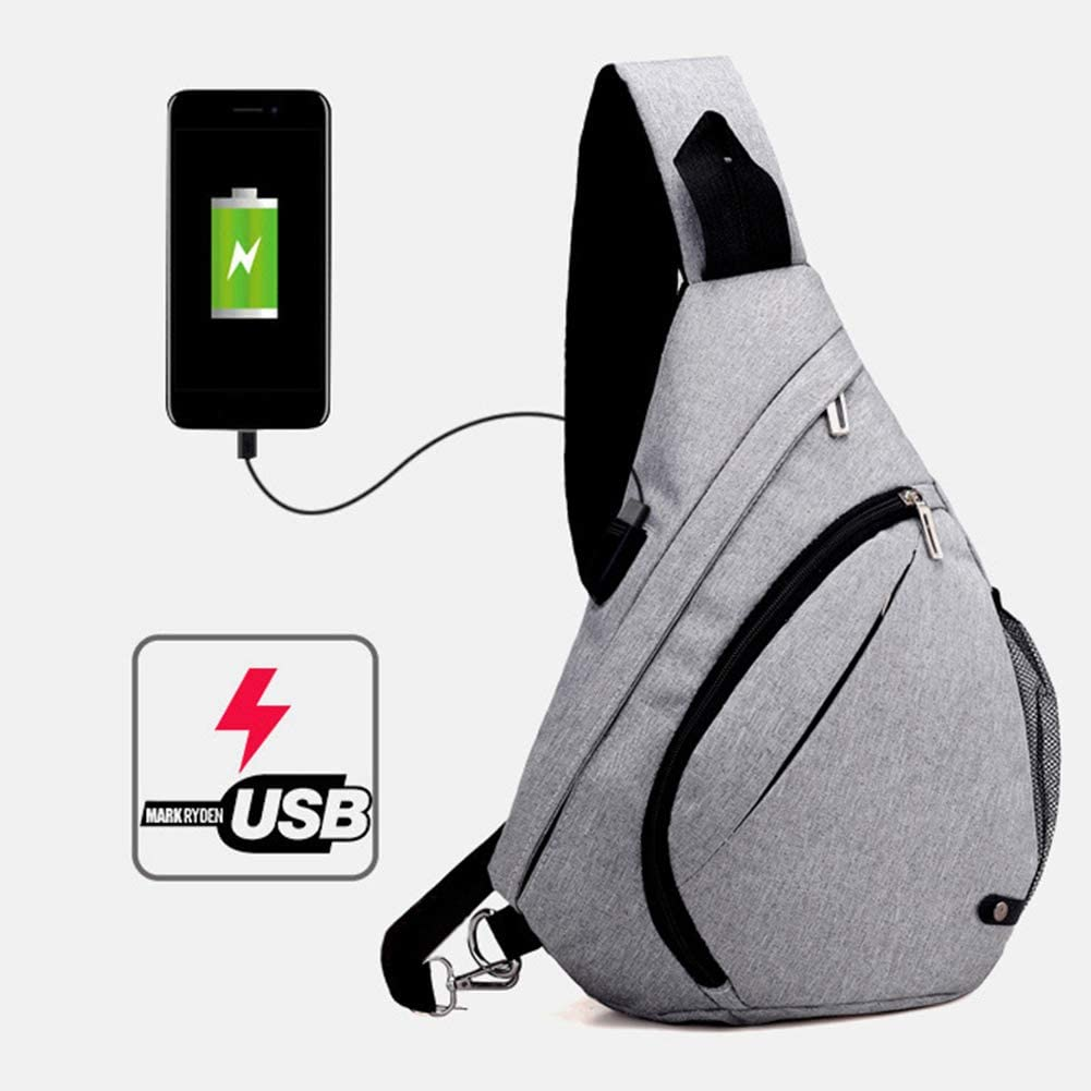 dna18729nd Fashion Comfortable Men Casual Travel Anti-Theft USB Port Crossbody Shoulder Bag Chest Pack