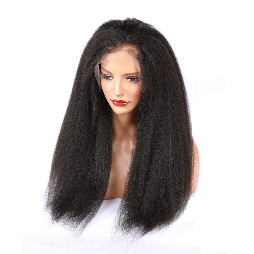 ALYSSA Free Part Human Hair Wig With Baby Hairs Unprocessed Kinky Straight 150% Density Full Lace Wigs For Woman 24inch Natural Color by Alyssa (Image #5)
