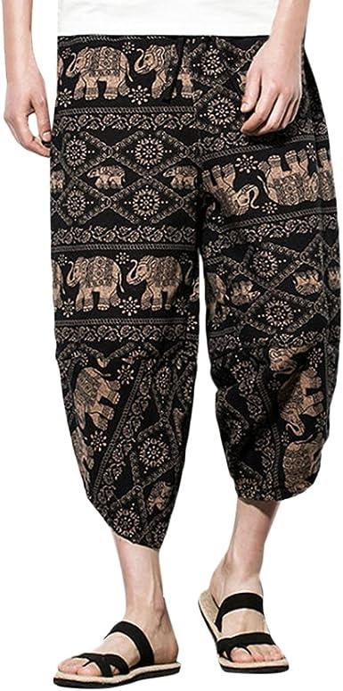 Zhuhaitf Pantalones Para Hombre Algodon Haren Pantalones Hippie Boho Pantalones Mens Harem Hippie Yoga Pants Trousers M 5xl Variedad De Colores Amazon Es Ropa Y Accesorios