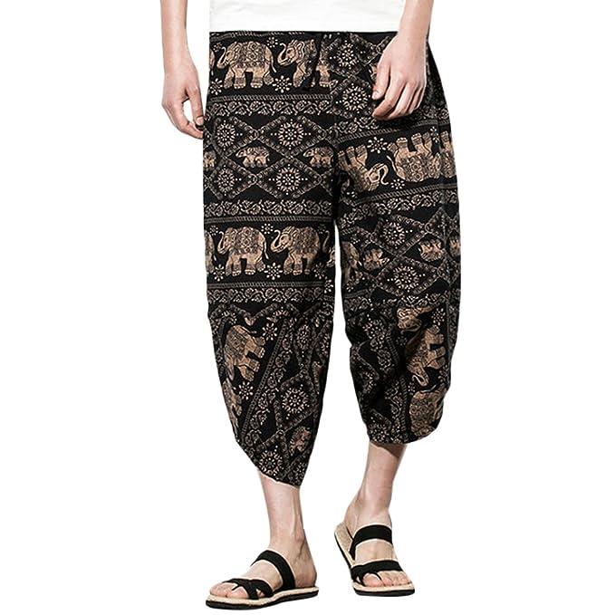diseño atemporal 7756c c94d6 Zhuhaitf Pantalones para Hombre algodón harén Pantalones ...