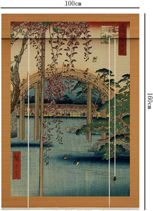 Persiana Enrollable Cuerda de elevación impresión Cortina de bambú Estudio Tatami Puerta corredera Cortina Pintura partición Anti-Mosquitos sombreado: Amazon.es: Hogar