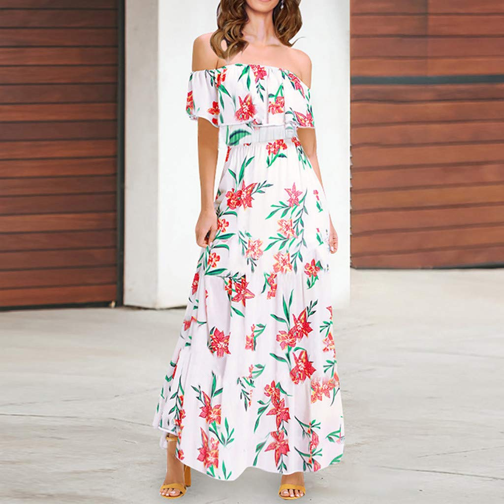 Vamoro Womens Off Shoulder Floral Bodycon Dress Elegant Sleeveless Long Dress Ruched Thigh Slit Dress Evening Cocktail Party Long Dresses