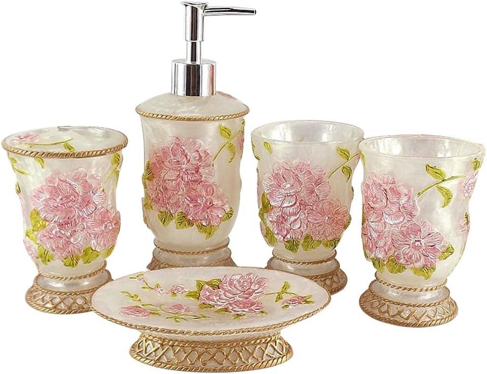 LUANT Vintage Bathroom Accessories, 5Piece Bathroom Accessories Set, Bathroom Set Features, Soap Dispenser, Toothbrush Holder, Tumbler & Soap Dish - Bath Gift Set