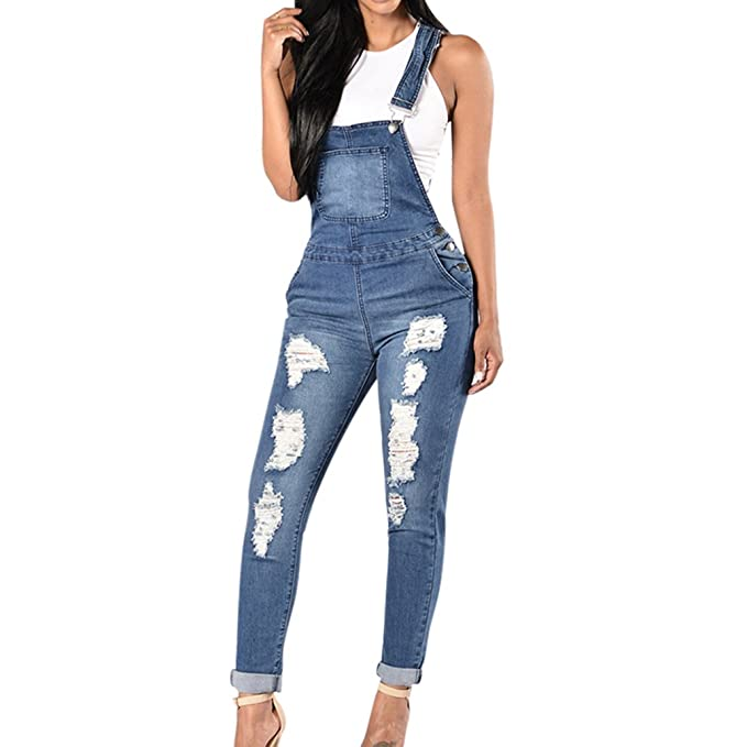9c4c928c31d2 2018 Spring Women Denim Overalls Jumpsuits Ripped Holes Casual Pockets   Amazon.ca  Clothing   Accessories
