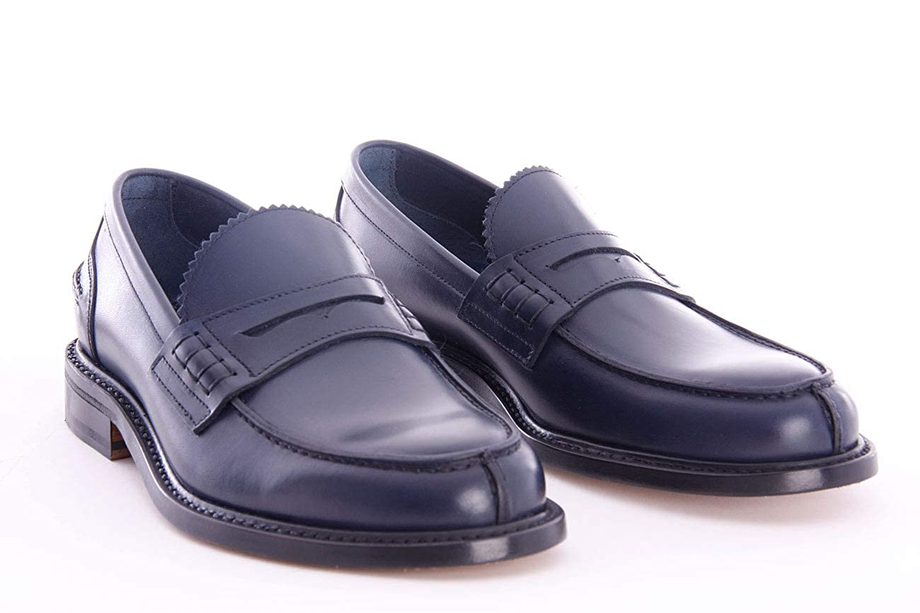 Berwick 1707 Loafers in Leather Blue Mens.