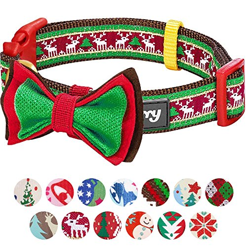 Blueberry Pet 14 Patterns Christmas Santa Claus's Reindeer Dog Collar with Detachable Bow Tie, Small, Neck 12