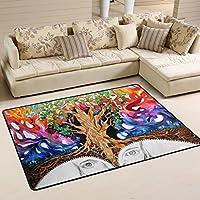 LORVIES Trippy Art Nature Area Rug Carpet Non-Slip Floor Mat Doormats for Living Room Bedroom 72 x 48 inches