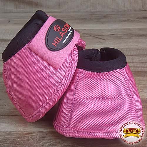 HILASON Medium Durable Horse Ballistic Overreach NO Turn Bell Boots Pair Pink