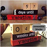 Cheap VACATION COUNTDOWN! Reversible and interactive wood word stacking block set for vacation countdown in home or office decor…