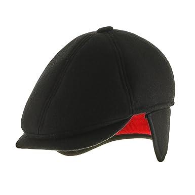 Ultrafino 6 Point Wool Newsboy Ivy Ear Flaps Cap With Fleece Lining Black 7  1  c8022c2cac9f