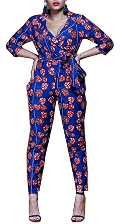 bca0579cf118 Amazon.com  Womens Sexy Half Sleeve Deep V Neck Floral Printed Bodycon  Party Clubwear Jumpsuit Rompers  Clothing
