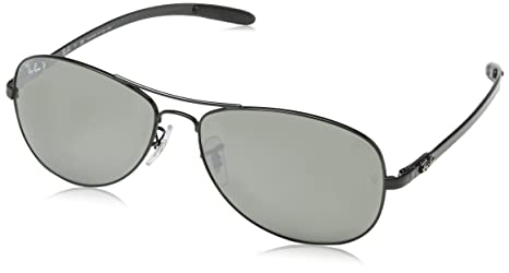 fbc1d2c893 Image Unavailable. Image not available for. Colour  Ray-Ban RB8301 - SHINY  BLACK Frame GREY MIRROR BLACK POLAR Lenses 59mm Polarized