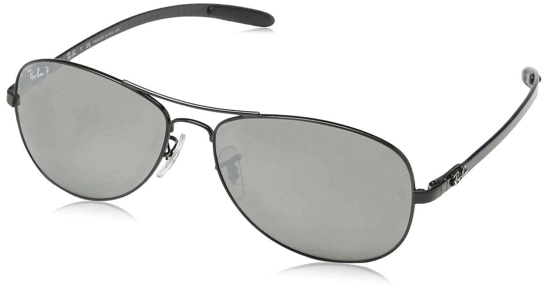 Ray Ban Tecnología carbono fibra aviador gafas de sol negro brillo polarizado