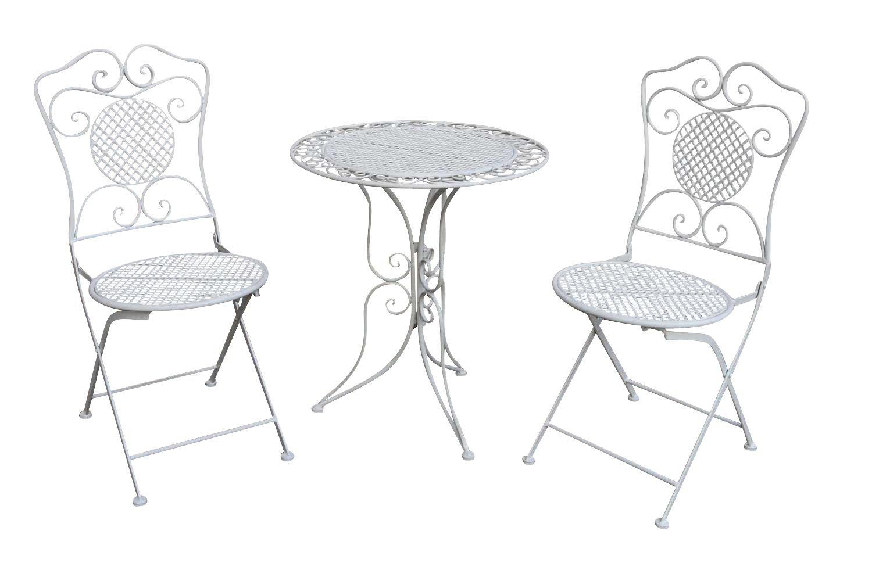 Gartenset Tisch und 2 Stühle Eisen Antik-Stil Gartengarnitur ...