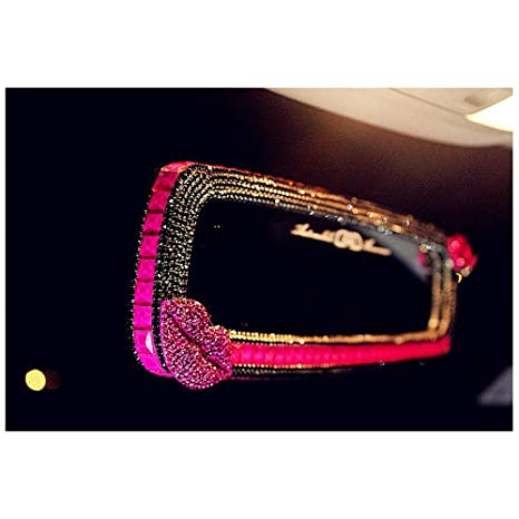 LuckySHD Bling Car Rear View Mirror with Rhinestone Lip Rose red