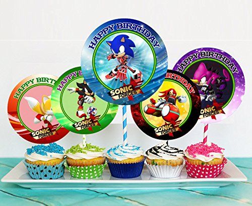 Price comparison product image 12 Sonic Forces Birthday Inspired Party Picks,  Cupcake Picks,  Cupcake Toppers 1